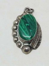 Vintage Mexico Sterling Silver Malachite Beaded Feather Pendant