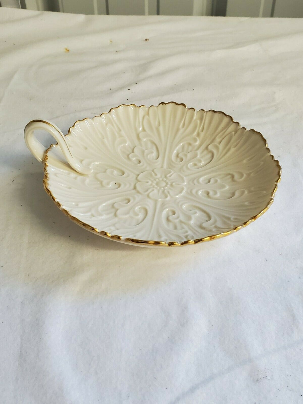 Lenox Ivory China Raised Floral Design Plate With Handle
