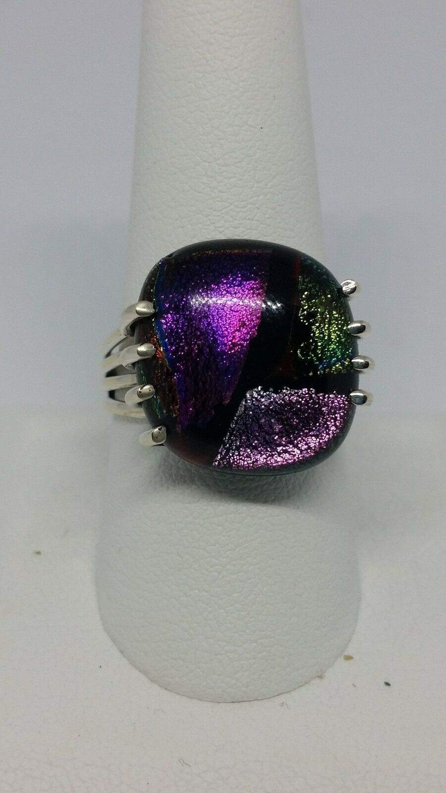 Dichroic Glass Handmade Sterling Silver Ring Size 8.75
