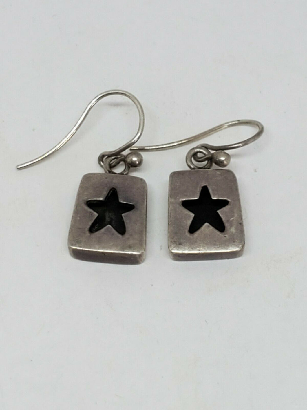 Vintage Sterling Silver Mexico AHD Cut Out Star Block Earrings