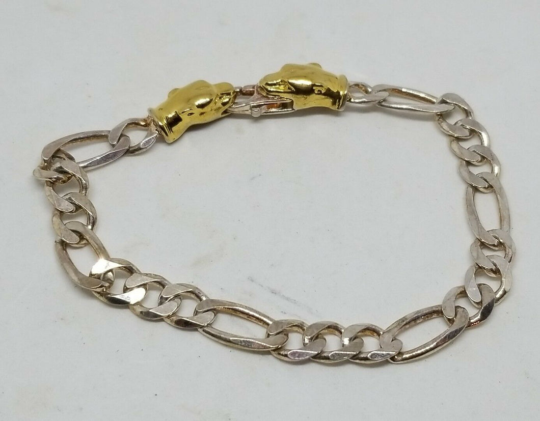 Vintage Milor 925 Sterling Silver Gold Plated Cougar Head Figaro Bracelet
