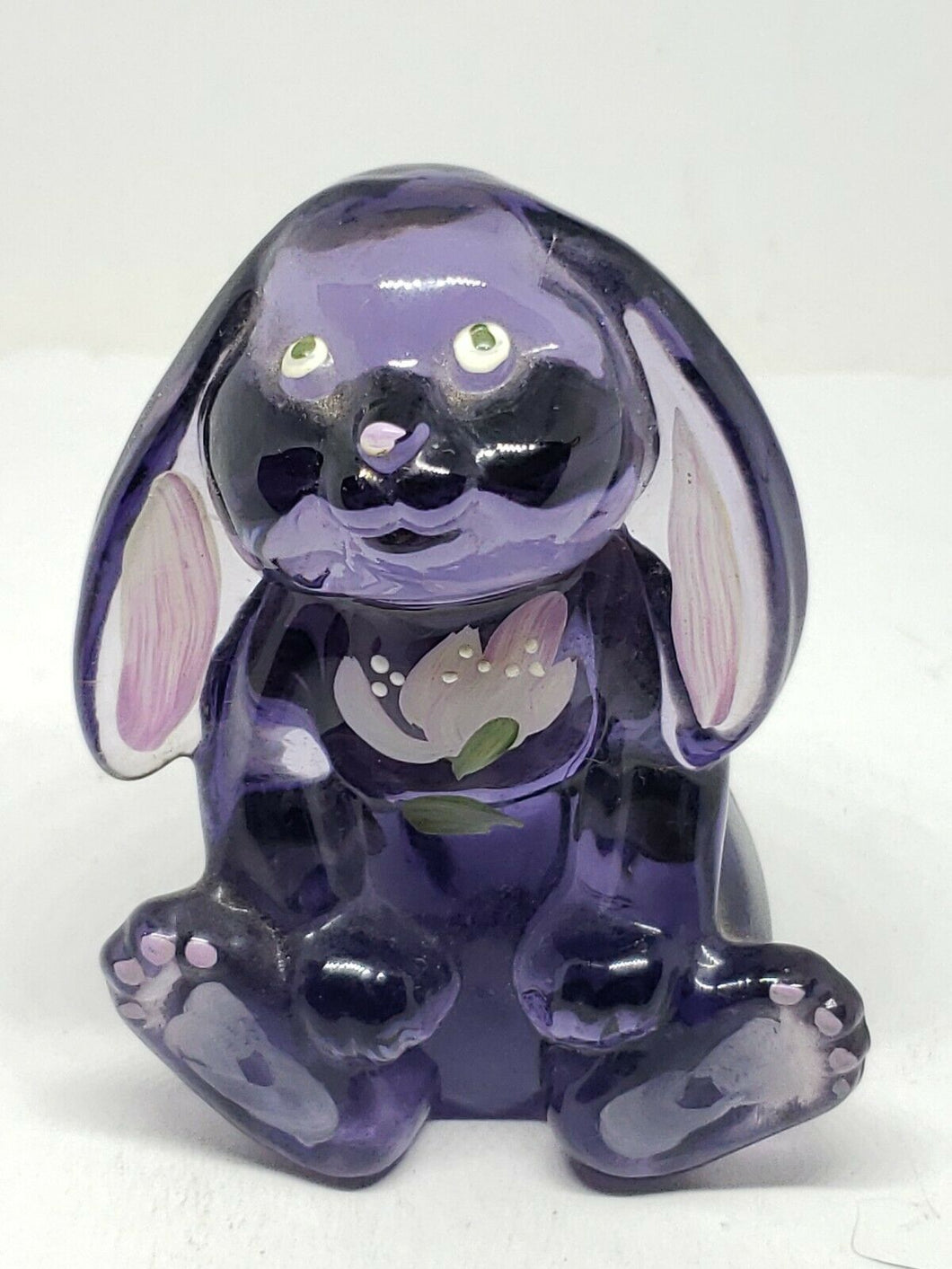 Vintage SIGNED Fenton Purple Glass Handpainted Floral Rabbit Figurine 3.5