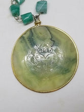 Vintage 1970's Aztec Carved Jade and Green Agate Medallion Necklace