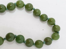 Vintage Sterling Silver Green Jade Hand Knotted Beaded Strand Necklace 19""