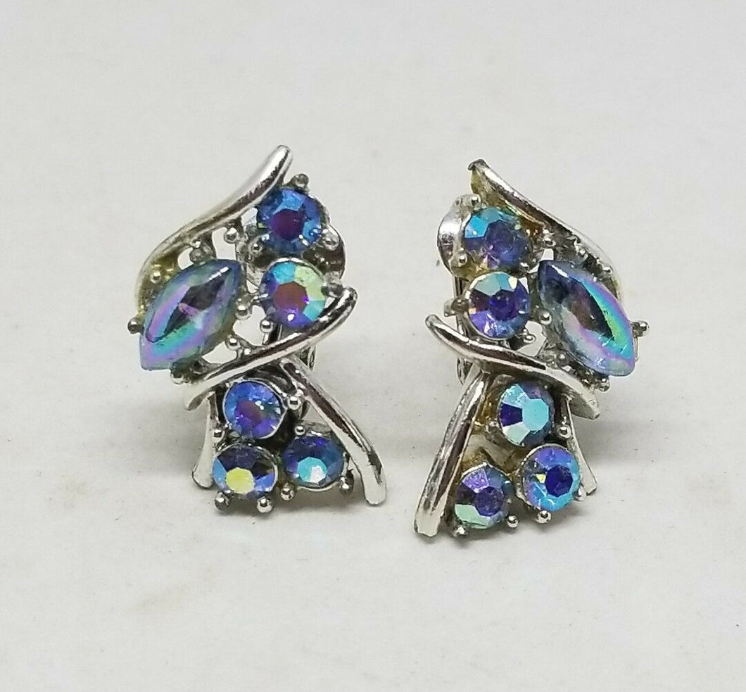 Vintage Designer Signed CORO Silver Tone Light Sapphire AB Clip On Earrings