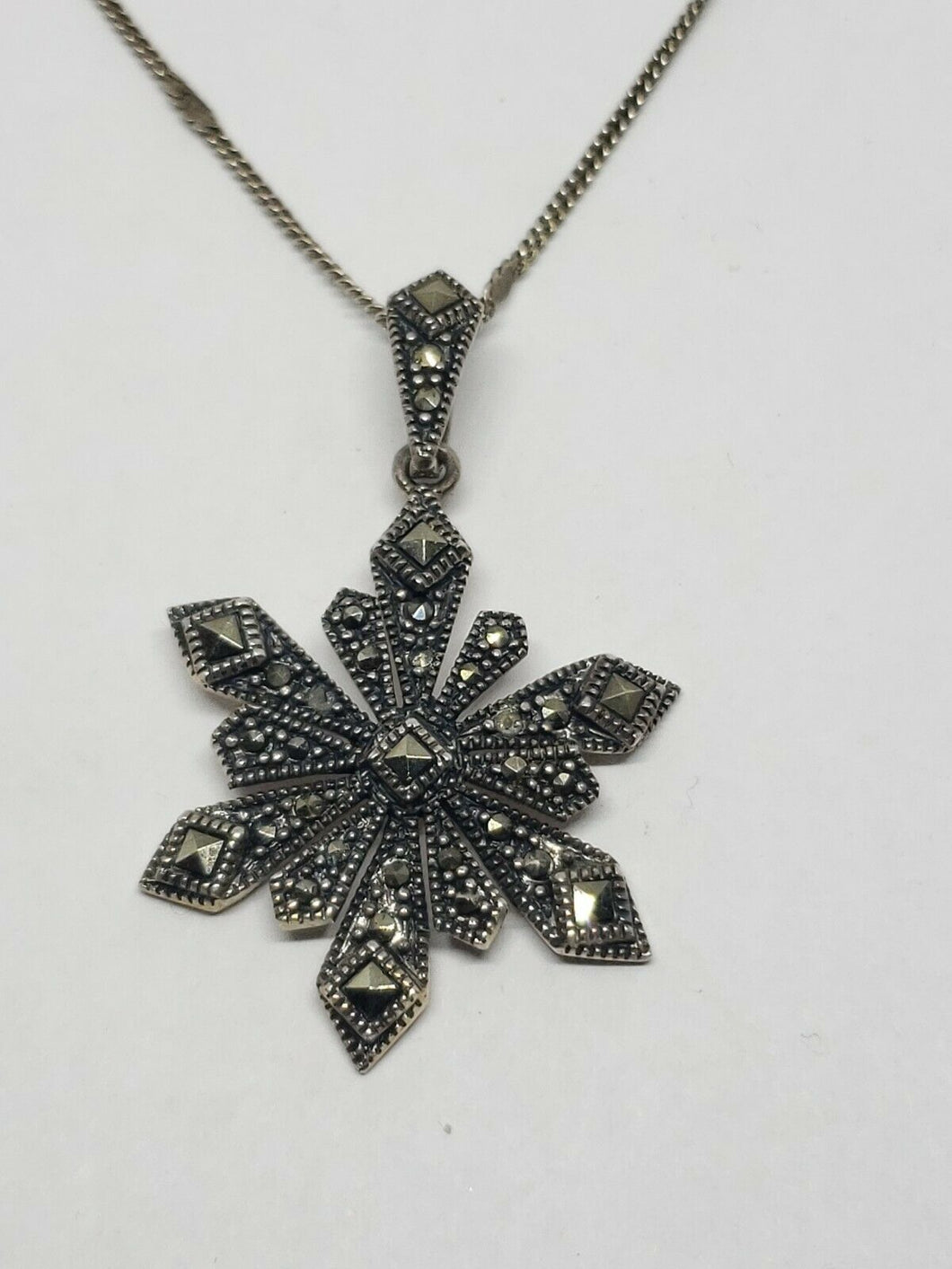 Sterling Silver Marcasite Snowflake Necklace Stamped Cabel Chain Flat Link...