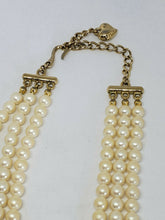 Vintage Carolee 3 Strand Adjustable Faux Pearl Necklace