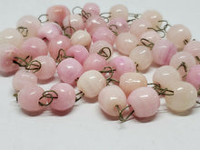 Vintage Handmade Pink Agate Beaded Chain Necklace 24""