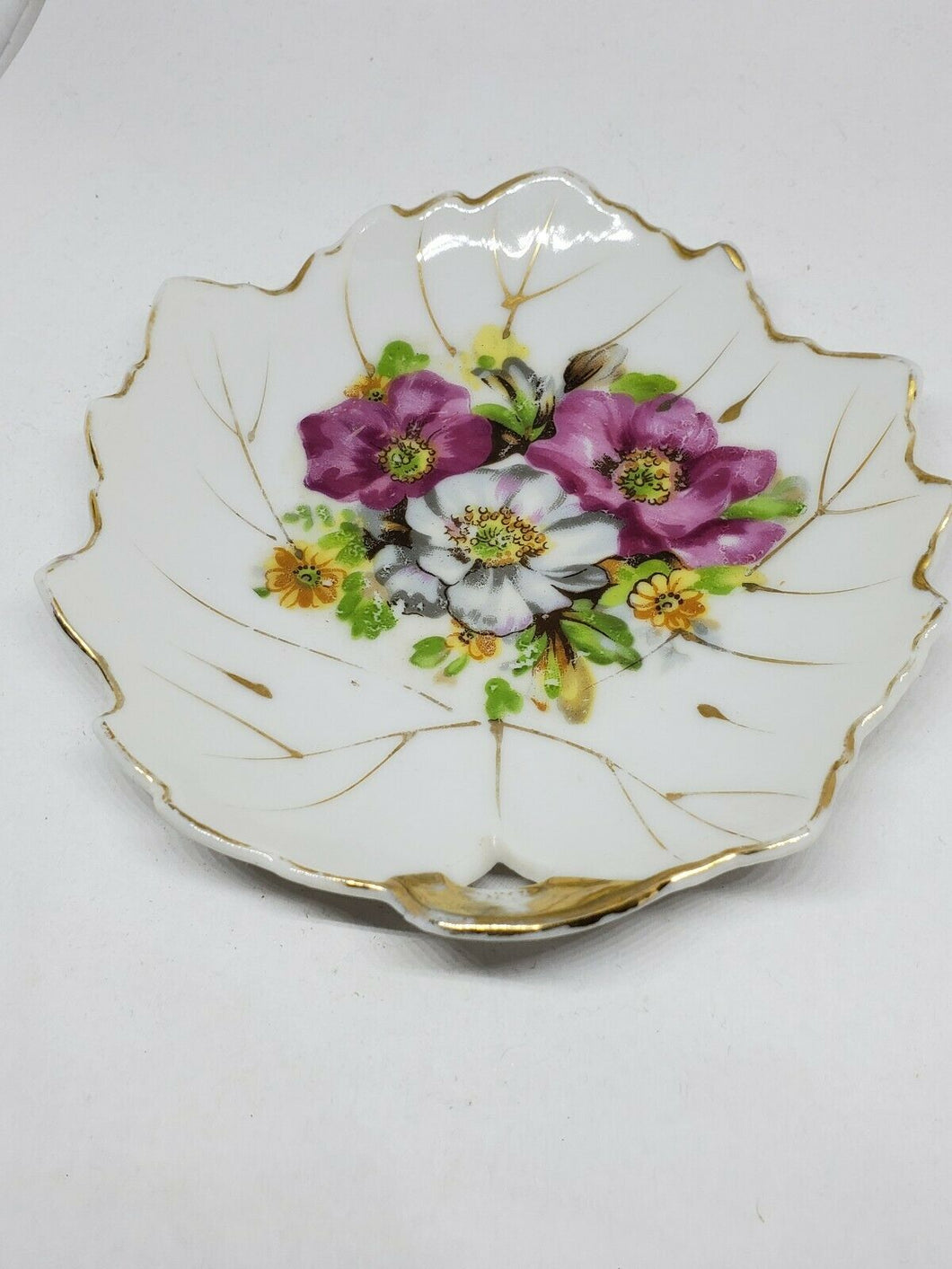 Vintage Japan Floral Maple Leaf Bone China Dessert Plate