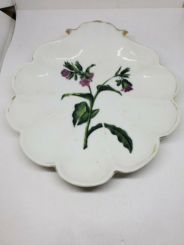 Vintage Bing And Grondahl Hand Painted Flowers Shell Shaped Dish