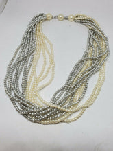 Vintage Marvella Silver And Cream Multistrand Faux Pearl Necklace 16.5""