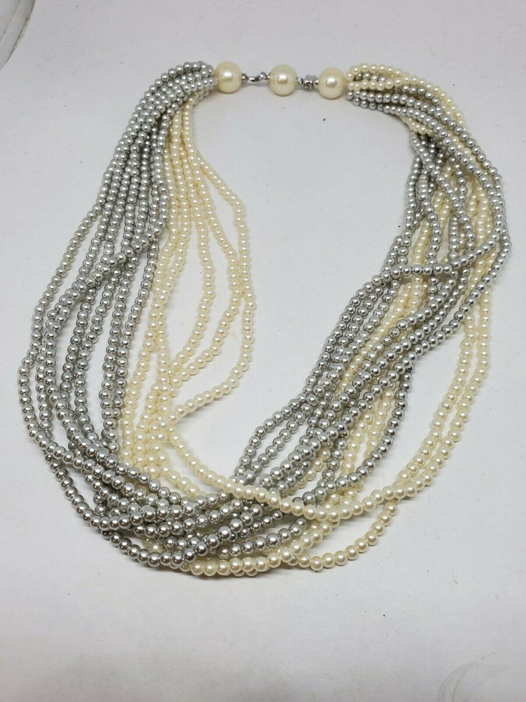 Vintage Marvella Silver And Cream Multistrand Faux Pearl Necklace 16.5