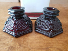 Vintage Avon 1876 Cape Cod Collection Ruby Red Candle Holders