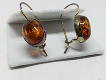 Vintage Gold Plated Sterling Silver Vermeil Baltic Amber Earrings