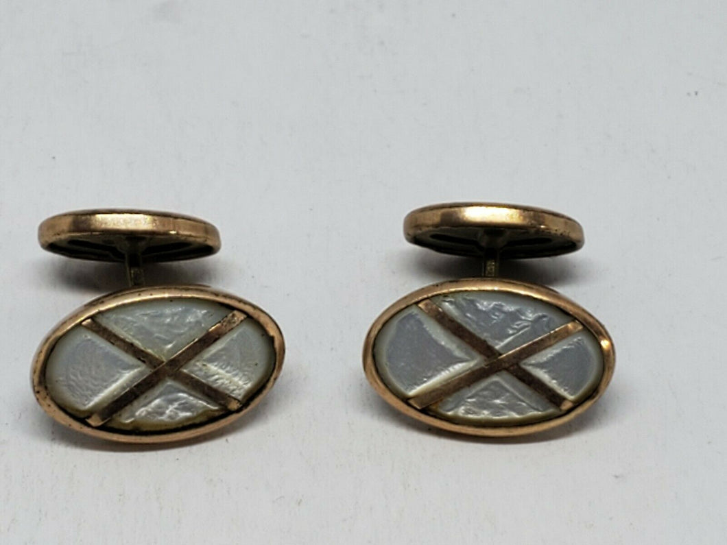Vintage Gold Filled Mother Of Pearl X Cufflinks