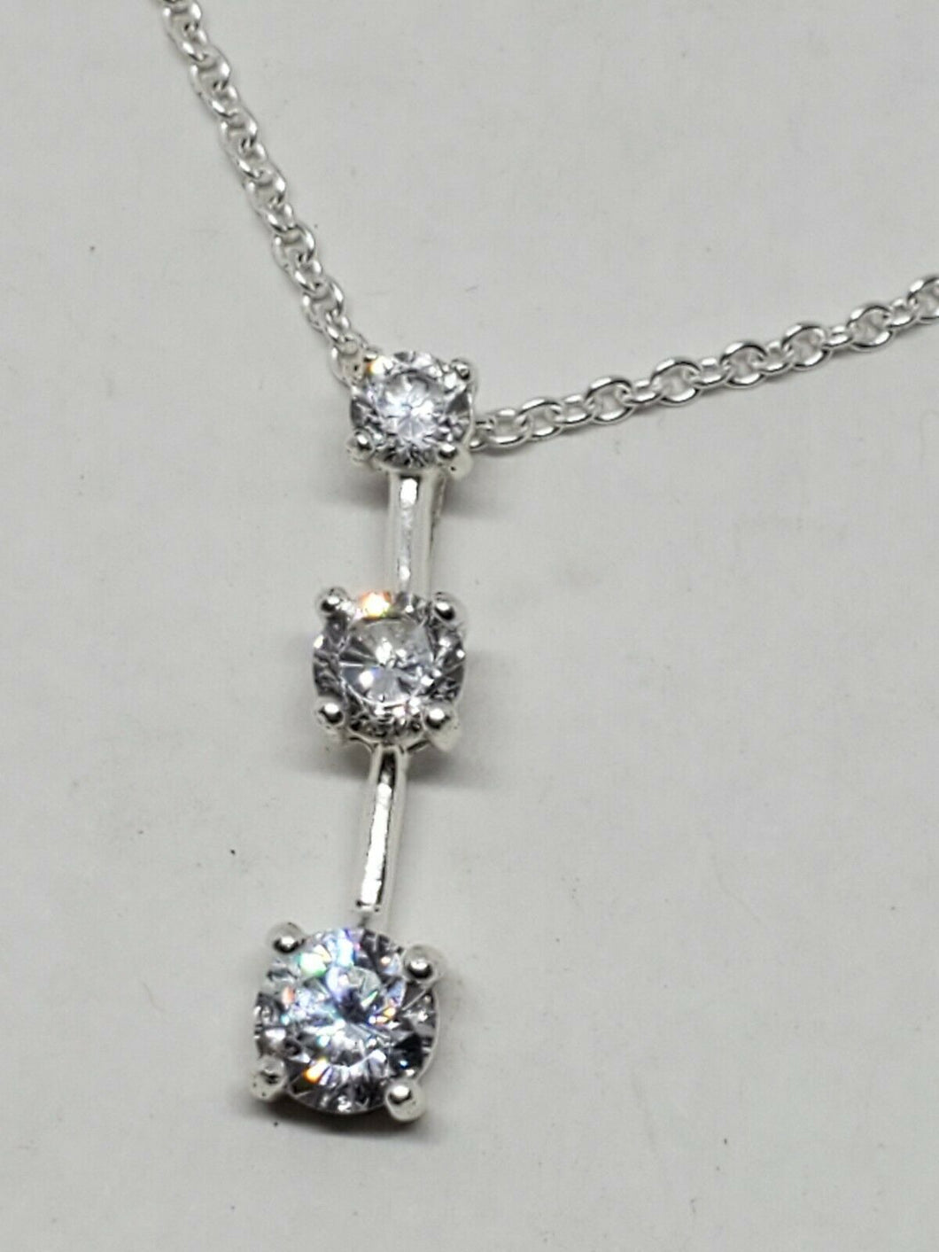 Sterling Silver Clear Cubic Zirconia Past Present Future 3 Stone Necklace