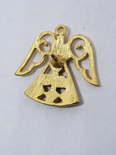 Vintage Gold Tone Purple & Amber Rhinestone Angel Lapel Pin