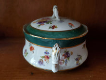 Vintage Royal Meissen Ware Porcelain Hand Painted Green Flower Soup Tureen