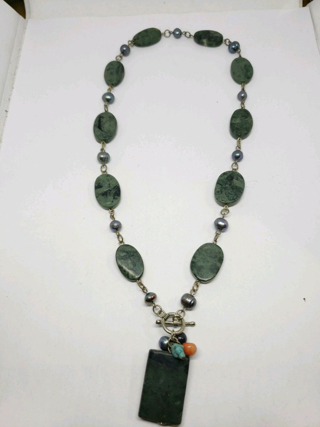 Handmade Jade And Peacock Black Pearl Necklace