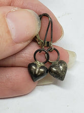 Vintage Sterling Silver Puffy Heart Dangle Pierced Earrings