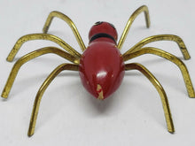 Vintage Red Painted Wooden Spider Brooch C Clasp 2.5""