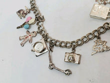 Vintage Sterling Silver Mother's Charm Bracelet 10 Charms Children Theme 7.25""