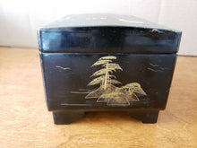 "Vintage Japan Hand Painted Black Lacquer Musical Jewelry Box 5"" x 7.25"" x 4"""