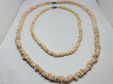 "Vintage Pair 70's Heshi Shell Square Bead Pink And Cream Necklaces 16"" & 24"""