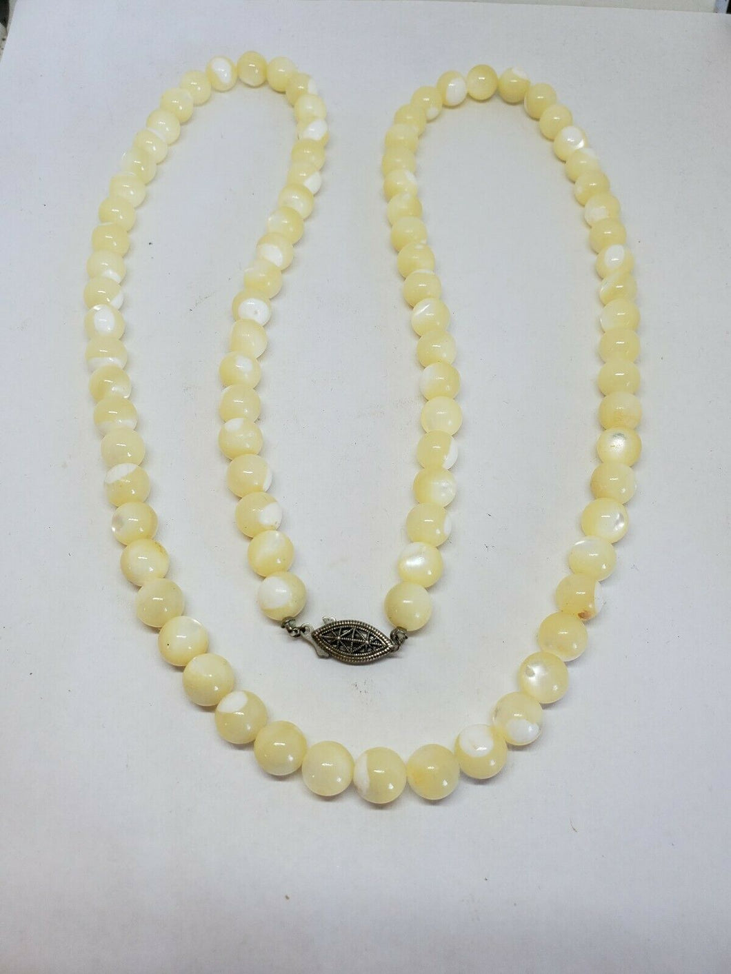 Vintage Sterling Silver Mother Of Pearl Bead Strand Necklace 32