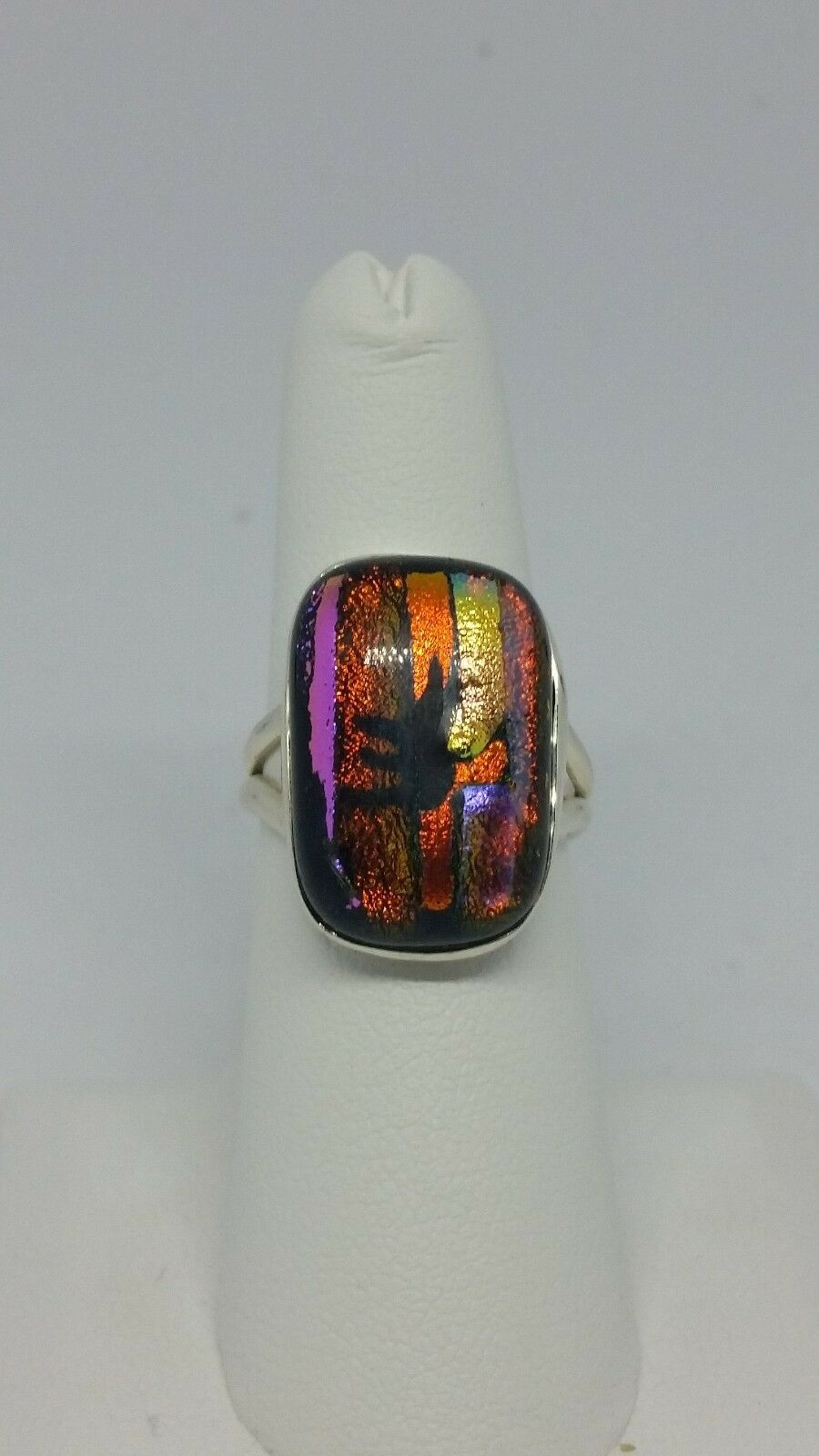 Dichroic Glass Handmade Sterling Silver Ring Size 6