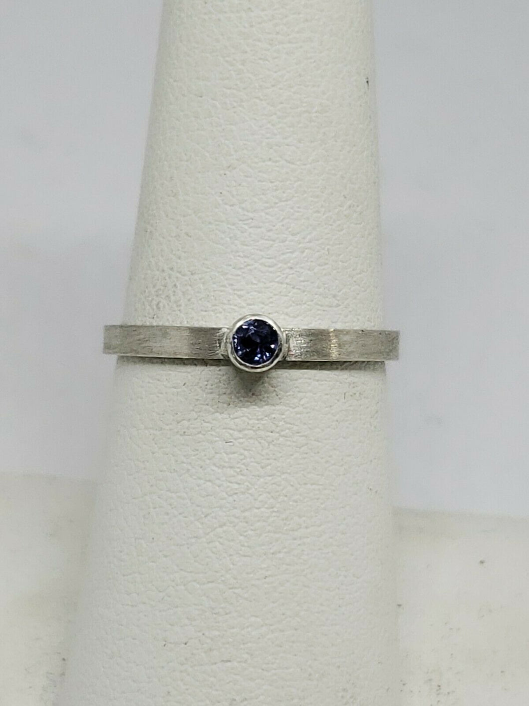 Handmade Tanzanite Sterling Silver Stacker Ring Brushed Finish Size 6 3/4