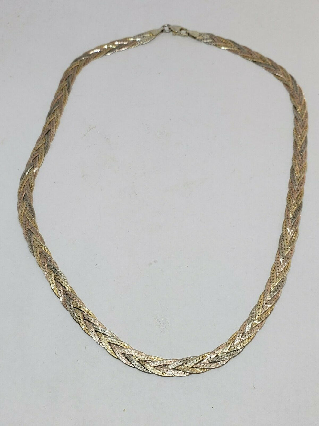 Vintage Italy Sterling Silver Tri-Color Gold Plated Herringbone Braided Necklace