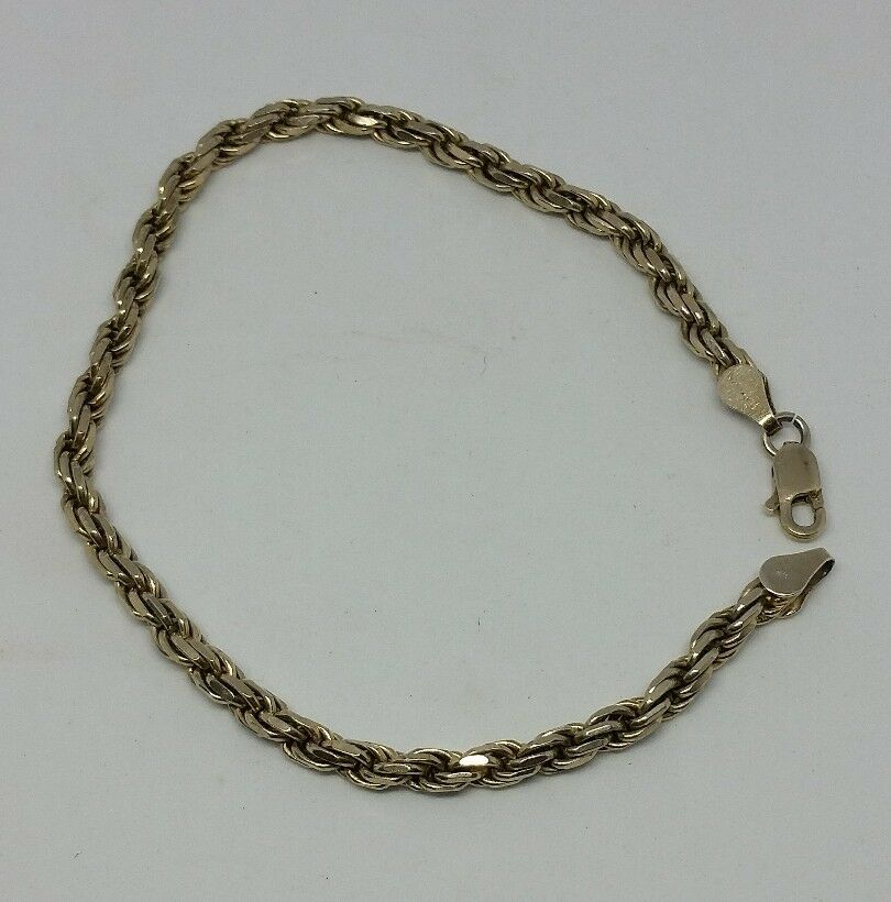 Vintage Rising Sun Sterling Silver Rope Chain Bracelet
