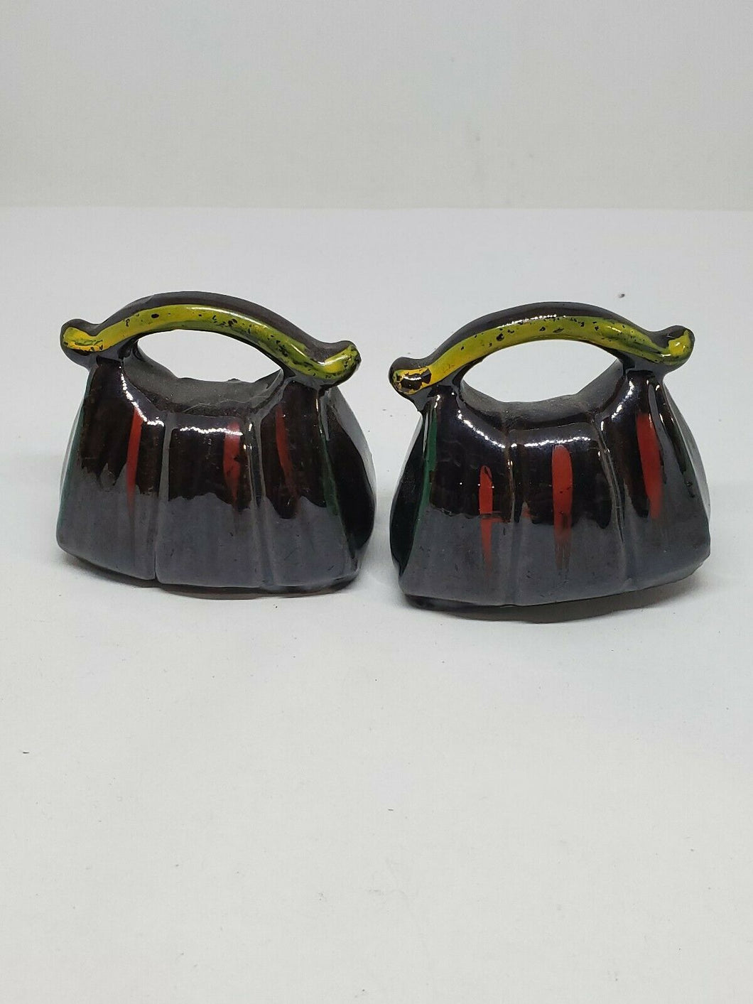 Vintage Japanese Bag Brown And Green Ceramic Salt And Pepper Shakers