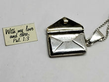 "Sterling Silver Articulated Envelope ""MOM"" Necklace Opens To Reveal Bible Verse"