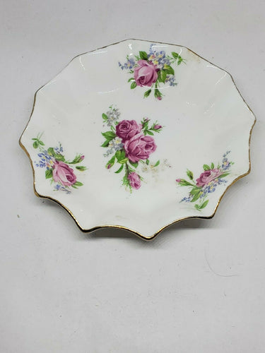 Vintage Rosina Bone China Scalloped Edge Rose Dish Made In England 5