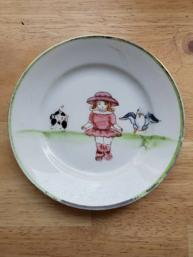 Vintage Hand Painted Nippon Little Girl With Animals Nut/Candy Dish