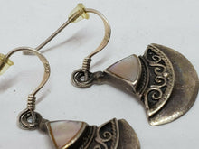 Sterling Silver Mother of Pearl Filigree Triangular Dangle Earrings