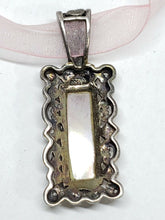 Sterling Silver Pink Mother Of Pearl & Marcasite Filigree Ribbon Necklace