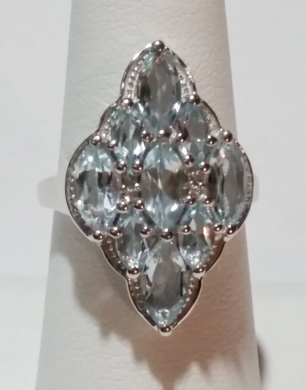 4.30 Carat Rhodium Plated Sterling Silver Genuine Blue Topaz Marquise Cut Cluster Ring