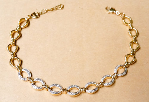 18k gold plated sterling silver diamond oval link bracelet 7.5