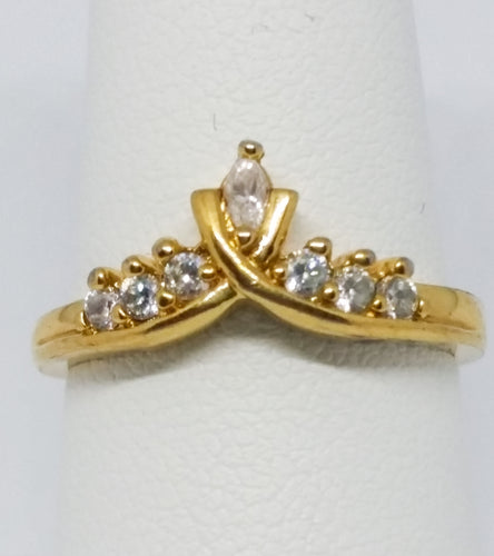 Nevada Mines Crown Style Ring w/ Marquise and Round Cut Clear Stones