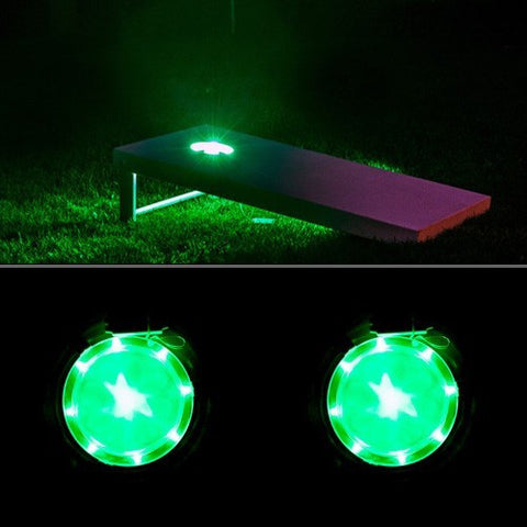 Green Cornhole Board Lights