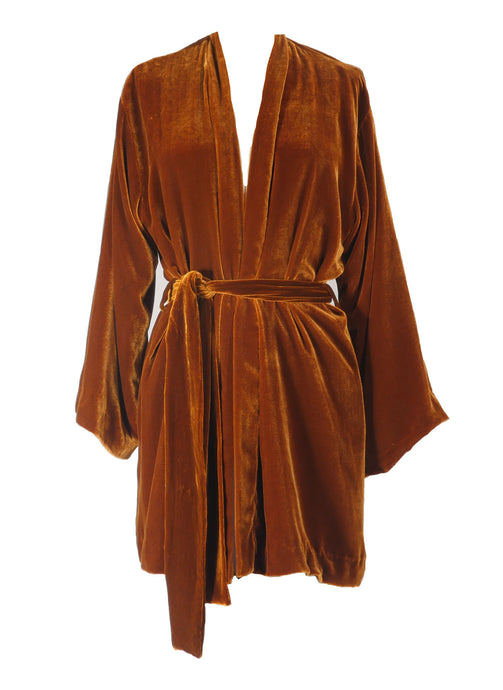 Gold Velvet Mini Robe