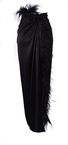 Feathered Wrap Maxi Skirt
