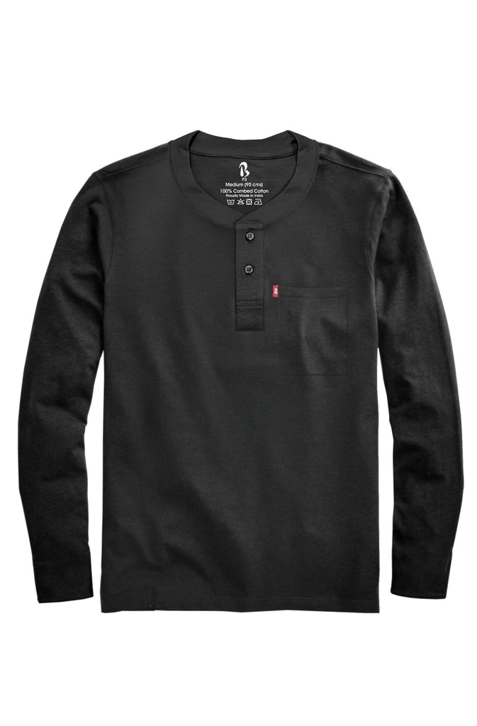 Black Beauty Ribbed Henley (Full Sleeved) Ribbed Henleys P3