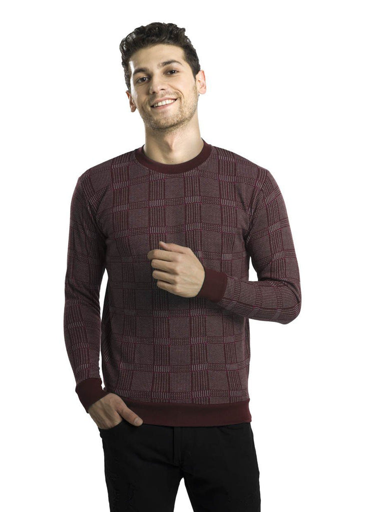 Burgundy Square-Patterned Fleece Sweater P3
