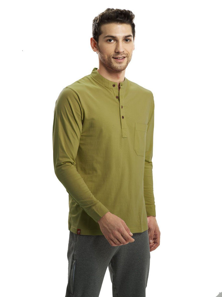 Cactus Green Full Sleeved Mandarin Henley (MRP inclusive of all taxes) Mandarins P3