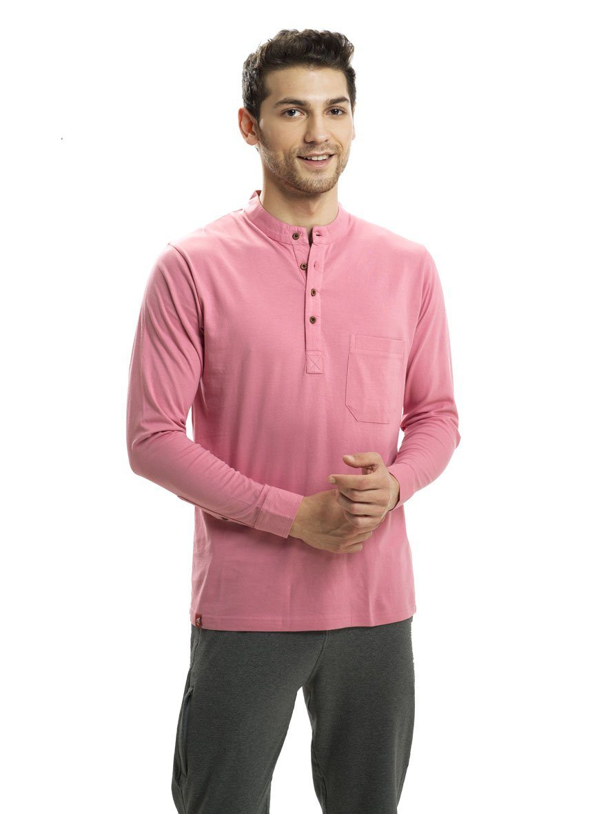 Candy Drops Pink Full Sleeved Mandarin Henley (MRP inclusive of all taxes) Mandarins P3