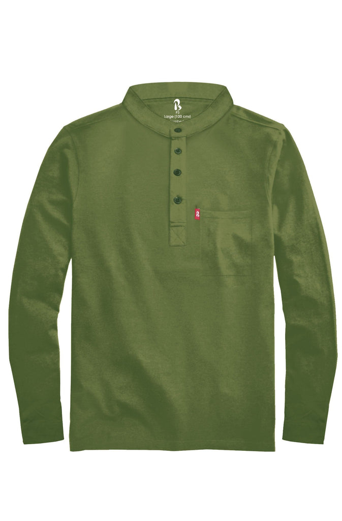"Cuffed Mandarin Henley (MRP inclusive of all taxes) Mandarins P3 Small/ 90 cms/ Ideal for shirt size 38"" Banyan"